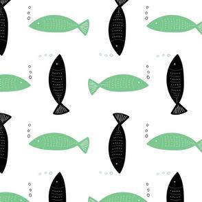 Doodle Fish, green black