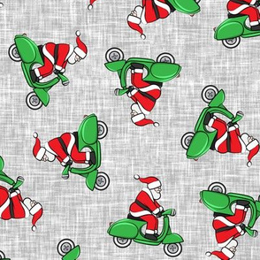 Scooter Santa - green on grey - Christmas - LAD19