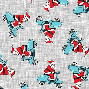 Scooter Santa - blue on grey - Christmas - LAD19