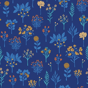Royal Blue, Turquoise, Yellow & Orange Floral Pattern
