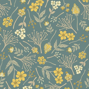 Yellow, Cream, Gray, Tan & Blue-Green Floral Pattern