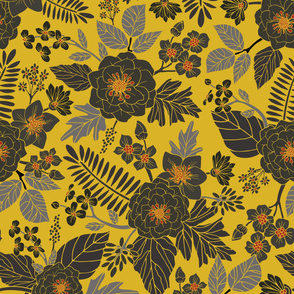 Mustard Yellow, Blue-Gray & Red Floral/Botanical Pattern (Large Scale)