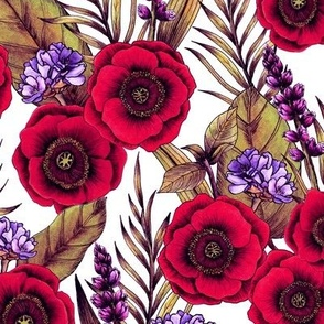 Red Poppies and Purple Flowers
