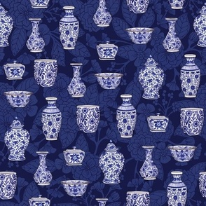 Blue and White Chinoiserie/ Delftware Pottery Pattern