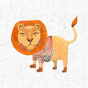 Lion in Striped Shirt - Large on White with Texture