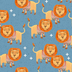 Lion in Striped Shirt - on Textured Blue with White Plus Signs