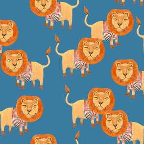 Lion in Striped Shirt - on Blue