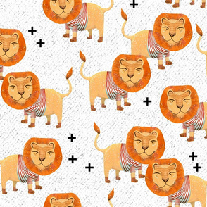 Lion in Striped Shirt - on White with Texture and Black Plus Signs