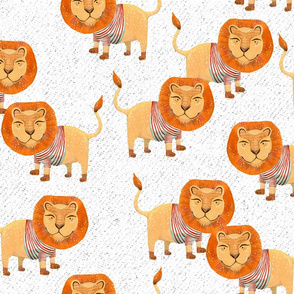 Lion in Striped Shirt - on White with Texture