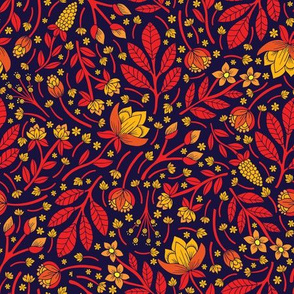 Red, Yellow, Orange and Dark Navy Flowers