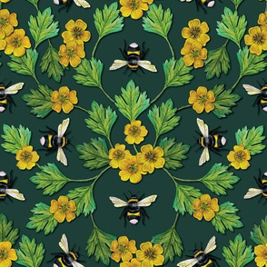 Bumblebees and Buttercups - Green & Yellow Floral/Botanical Pattern