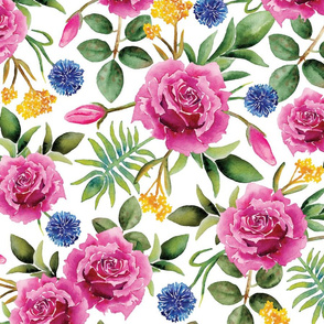 Watercolor Roses - Pink, Blue, Yellow & Green Floral/Botanical Pattern