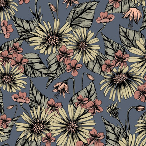 Dusty Rose & Blue Floral/Botanical Pattern