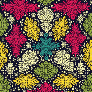 Pink, Green, Yellow, & Turquoise Ornate Symmetrical Pattern