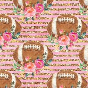 Football floral watercolor Gold glitter stripe