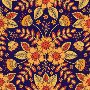 Vibrant Blue, Yellow and Orange Floral (large scale)
