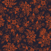 Dark Navy Blue & Orange/Rust Floral Pattern