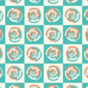 Spinning colourful rings on mint and pale yellow chessboard