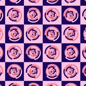Spinning colourful rings on blue and pink chessboard