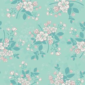 Apple Blossoms x24 ocean blue