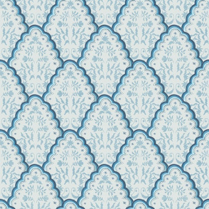 Medium Watercolor Blue Paisley Scallop with Texture