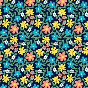 Crazy Daisies Coral Blue and Yellow on Midnight Blue