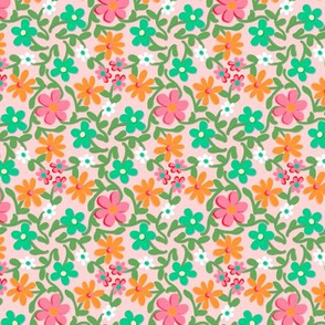 Crazy Daisies in Orange Green and Pink on Blush Pink