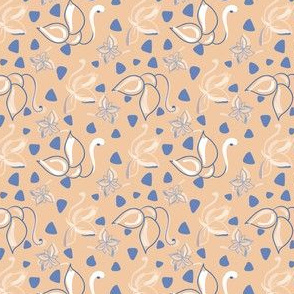 Blue and white flowers on light brown background spotted with blue triangles