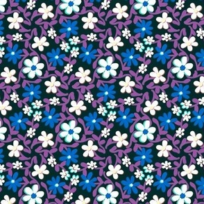Crazy Daisies Blue White and Purple on Black