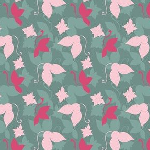 Green and pink flowers and leaves owithn dark green background.