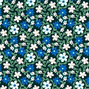 Crazy Daisies Blue White and Green on Black