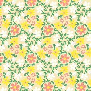Crazy Daisies Peach White and Yellow on Cream