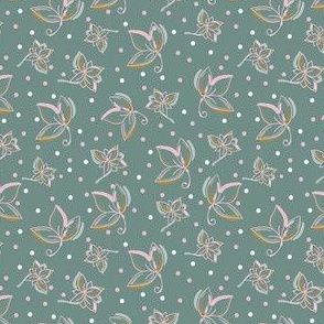 Green and pink flowers with a dotted green background