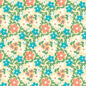Crazy Daisies Peach White and Blue on Cream
