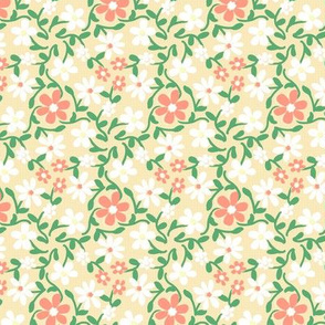 Crazy Daisies Peach White and Green on Cream