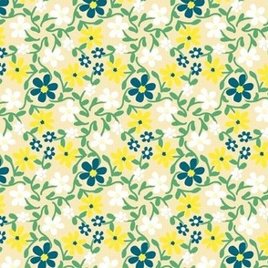 Crazy Daisies Yellow White Blue and Green on Cream