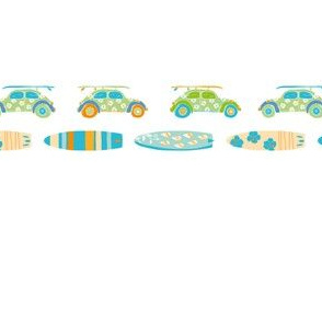 Colorful cars and surfboard border