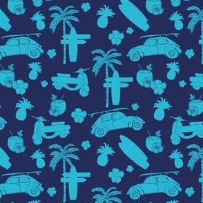 Blue cyan beach party shilouette