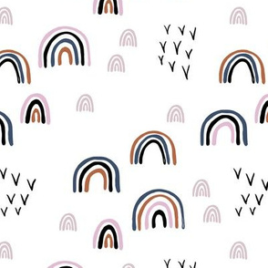 Rainbow sky and minimal birds dreamy retro night wish autumn winter mauve pink blue girls