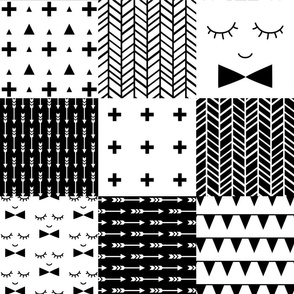 mod baby » black and white 6in wholecloth cheater quilt