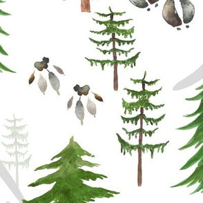 Timberland Tracks – Pine Tree Forest Animal Tracks (green) LARGER scale