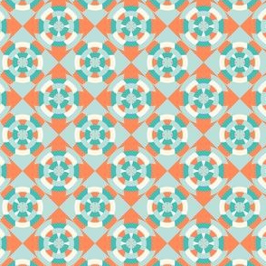 Simple geometric boat helm in mint and orange