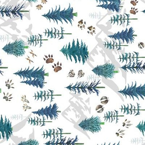 Timberland Tracks – Pine Tree Forest Animal Tracks (teal) SMALLER scale , ROTATED