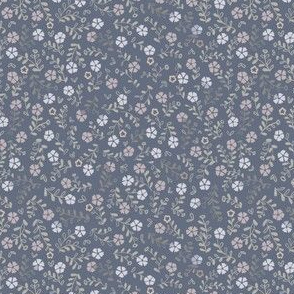 Neutral blue gray green ditsy floral