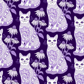 Fancy Feline Purple and White
