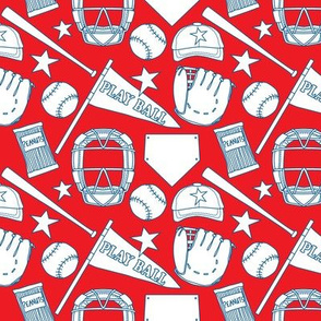 baseball items navy outline on red