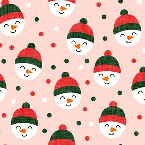 Happy Snowman - dark green and red polka dots - cute snowman faces on pink - LAD19