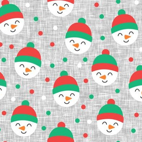 Happy Snowman - green and red polka dots - cute snowman faces on grey - LAD19