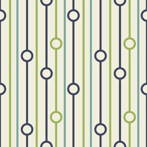 BaB - Blue and Green on Cream Modified Line Pattern