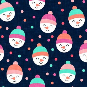 Happy Snowman - multi pink with polka dots - cute snowman faces on navy  - LAD19
